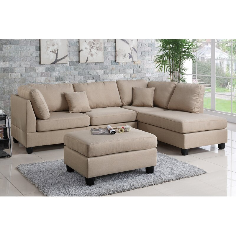 Andover Mills Hemphill Reversible Sectional With Ottoman