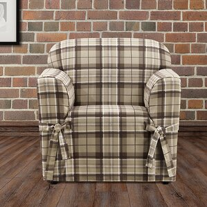 Highland Plaid Box Cushion Armchair Slipcover by Sure Fit