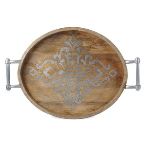 Wood and Metal Oval Tray