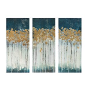'Midnight Forest' Gel Coat Canvas Wall Art with Gold Foil Embellishment 3- Piece. '
