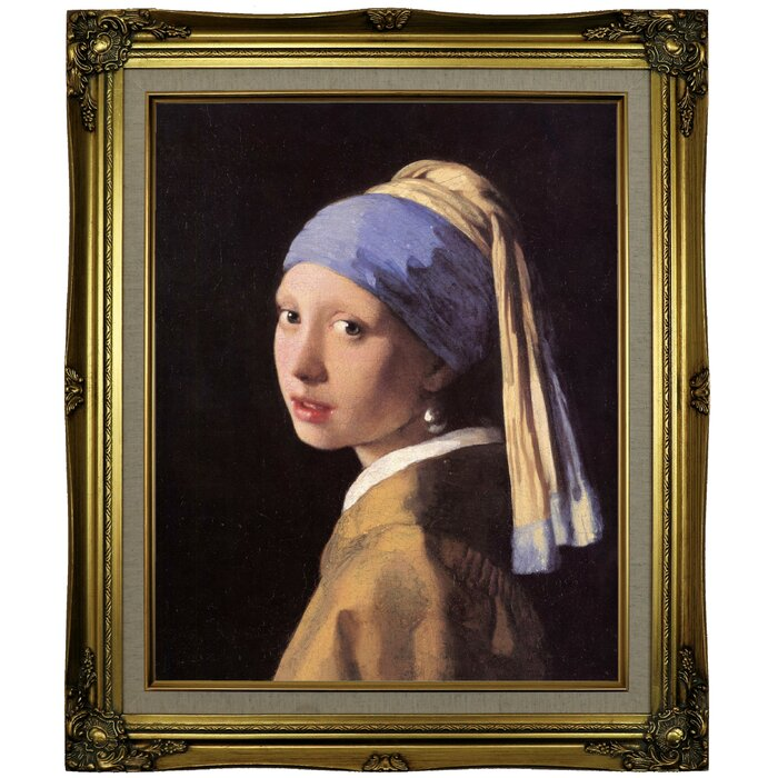 a95b56a4084 'The Girl with a Pearl Earring' by Johannes Vermeer Framed Oil Painting  Print on Canvas