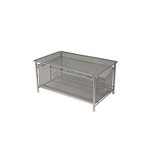 Metal/Wire Storage Basket With Sliding Drawer And Steel Mesh Platform On Top