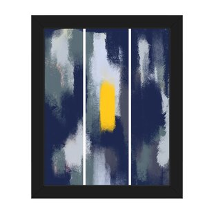 Painted Monolith Yellow Navy Framed Painting Print On Canvas