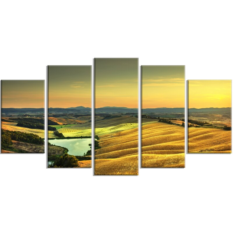 DesignArt \'Rural Landscape Italy Panorama\' 5 Piece Wall Art on ...