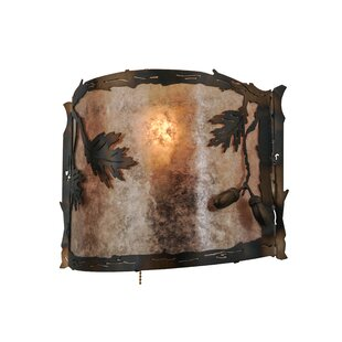 1 Light Oak Leaf And Acorn Pull Chain Wall Sconce