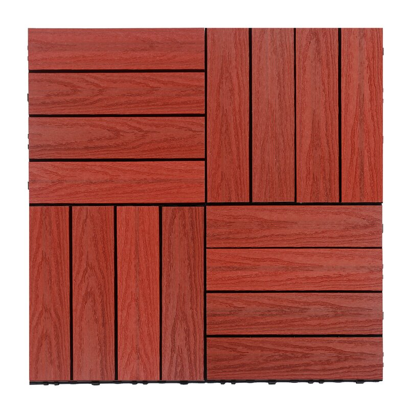 Naturale Composite 12 X Interlocking Deck Tiles In Swedish Red