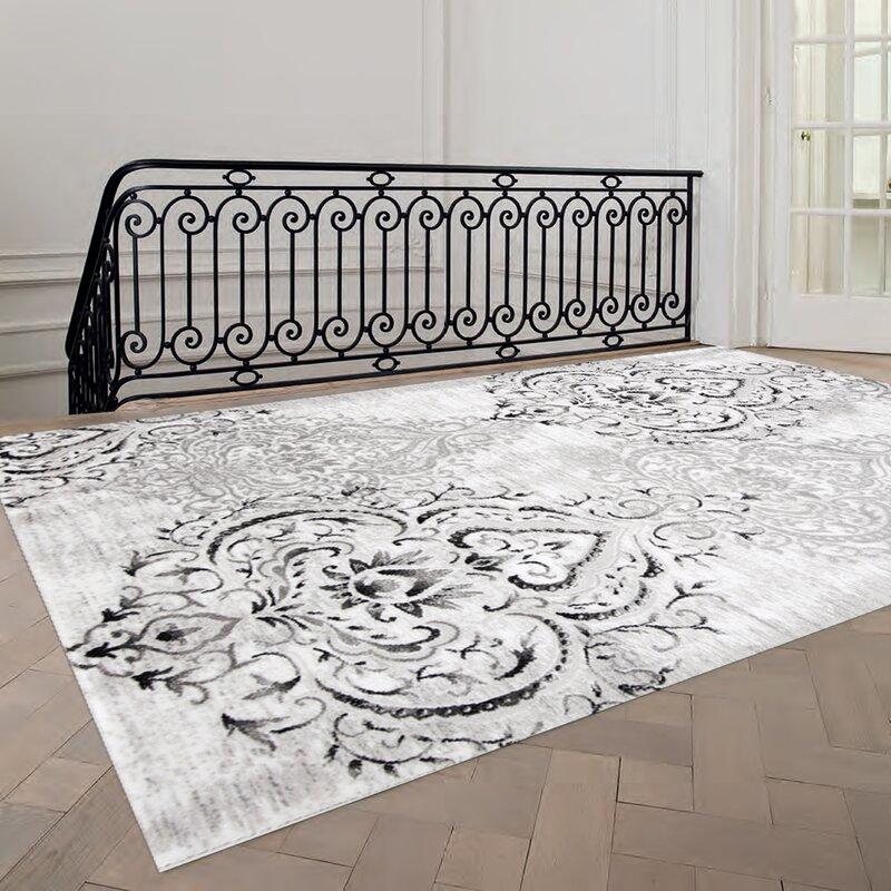 default_name - Fleur De Lis Living Abbate Venetian Grey/White Area Rug & Reviews