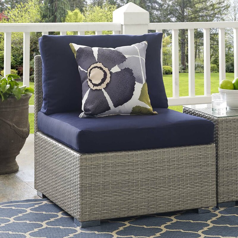 Heiner Fabric Armless Patio Chair With Sunbrella Cushion