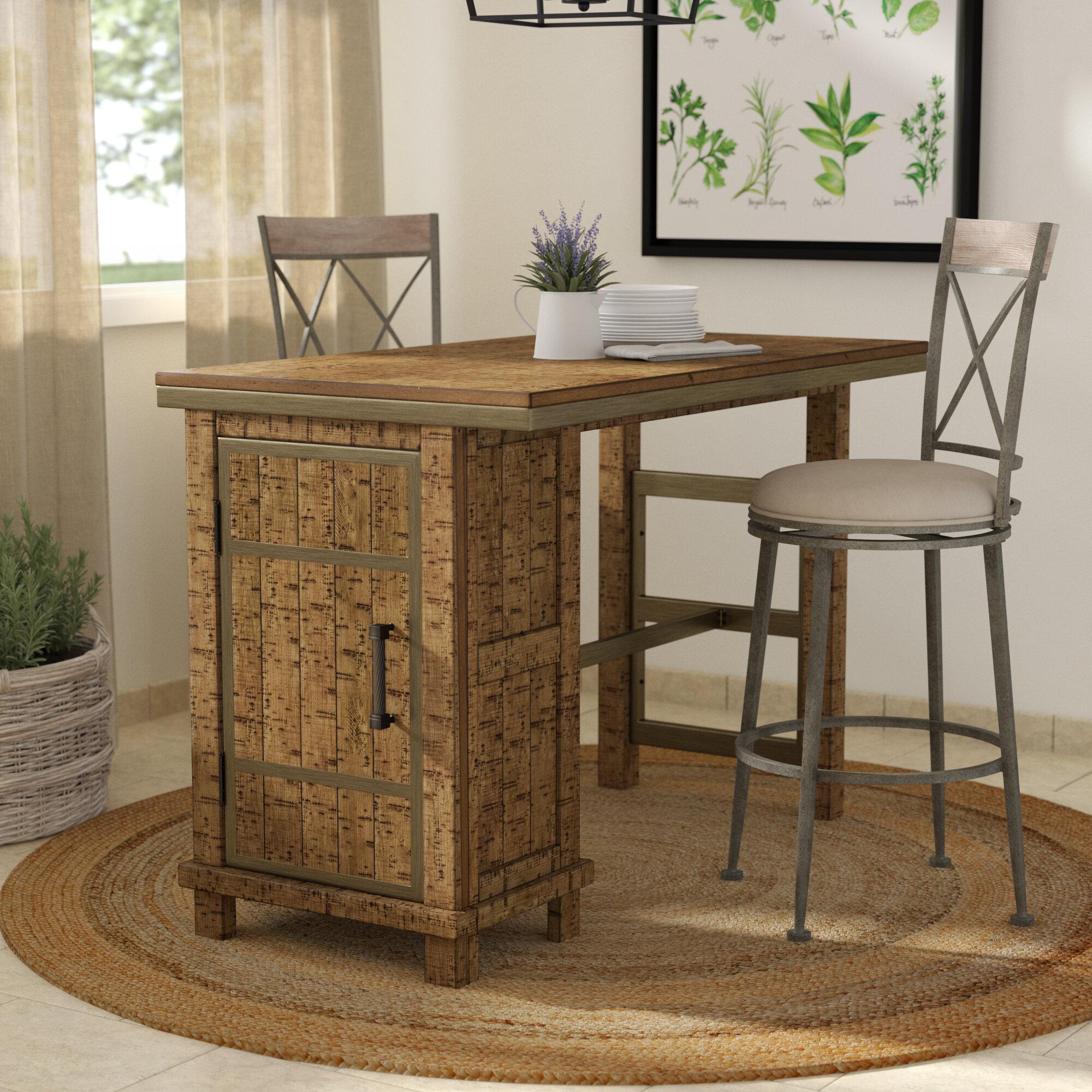 Laurel foundry modern farmhouse desjardins rectangular counter height dining table with storage reviews wayfair
