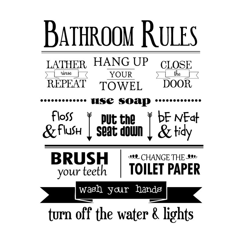 Bathroom Rules bathroom rules wall quotes™ decal & reviews | allmodern