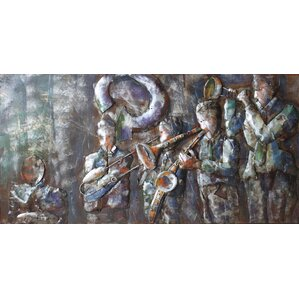 Jazz Band Mixed Media Iron Hand Painted Dimensional Wall Dcor