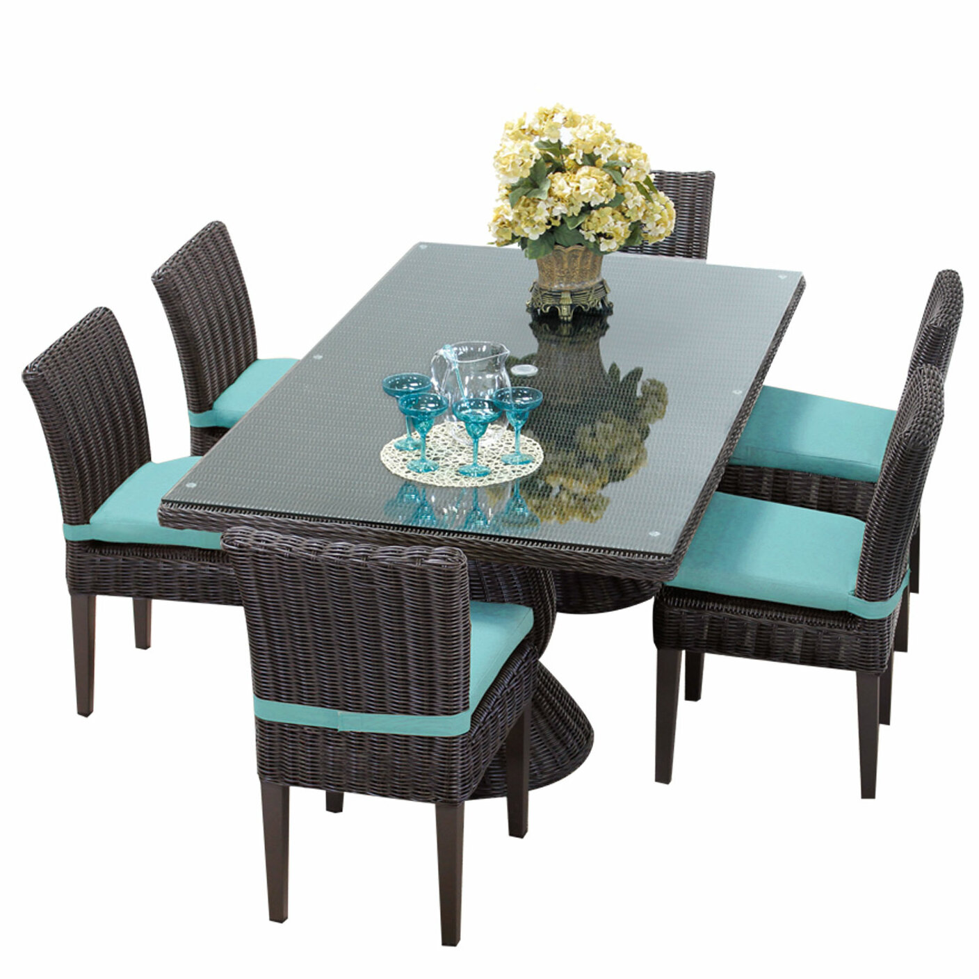Rosecliff Heights Eldredge 9 Piece Dining Set with Cushions | Wayfair