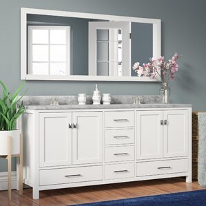 melba 728 double bathroom vanity set with carrara white top and mirror