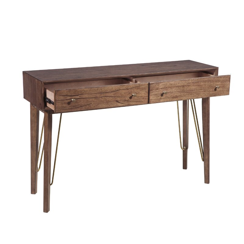 Verville Mid Century Modern Two Drawer Accent Storage Console Table