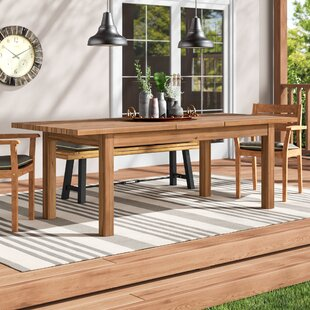 Rustic wood patio furniture Stylish Statler Outdoor Extendable Wooden Dining Table Wayfair Rustic Patio Tables Youll Love Wayfair