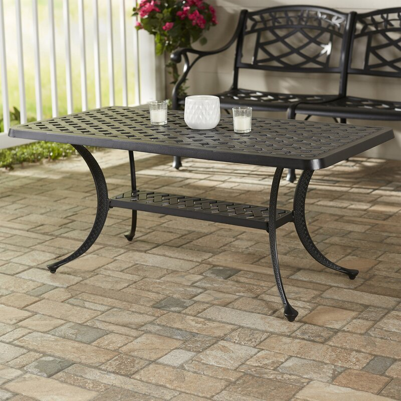 Darby home co lomax cast aluminum rectangular coffee table for Wayfair outdoor coffee table