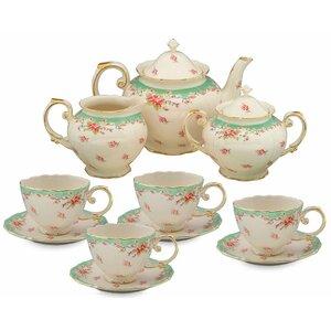 Idris 11 Piece Vintage Green Rose Porcelain Tea Set