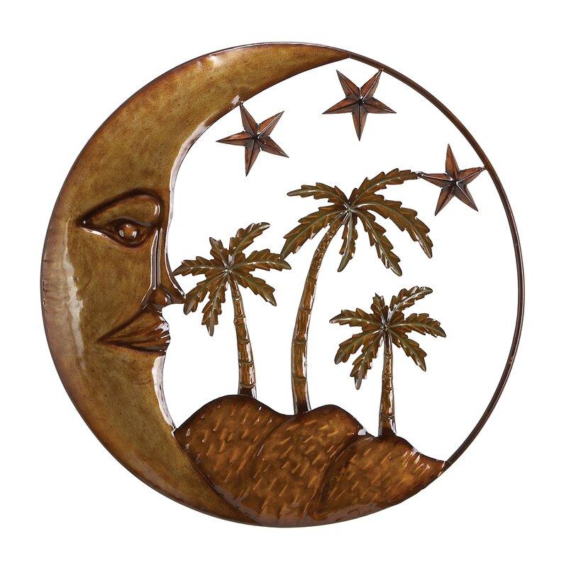 Palm Tree Wall Decor winston porter iron/metal moon star palm tree wall décor | wayfair