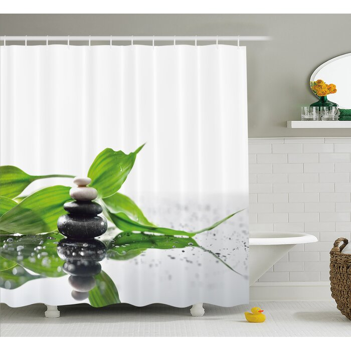 Spa Raindrops On The Leaves Side Hot Massage Stones Shower Curtain Set