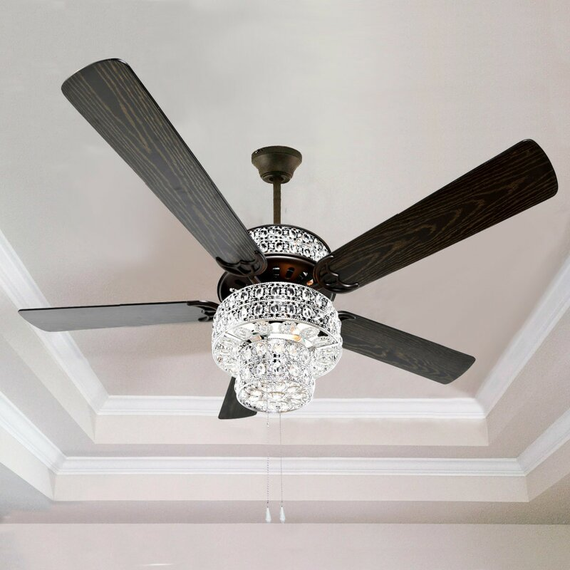 "Black Chandelier Fan: River Of Goods 52"" Punched Metal Crystal 5-Blade Ceiling"