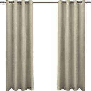 Baillons Solid Room Darkening Grommet Curtain Panels (Set of 2)
