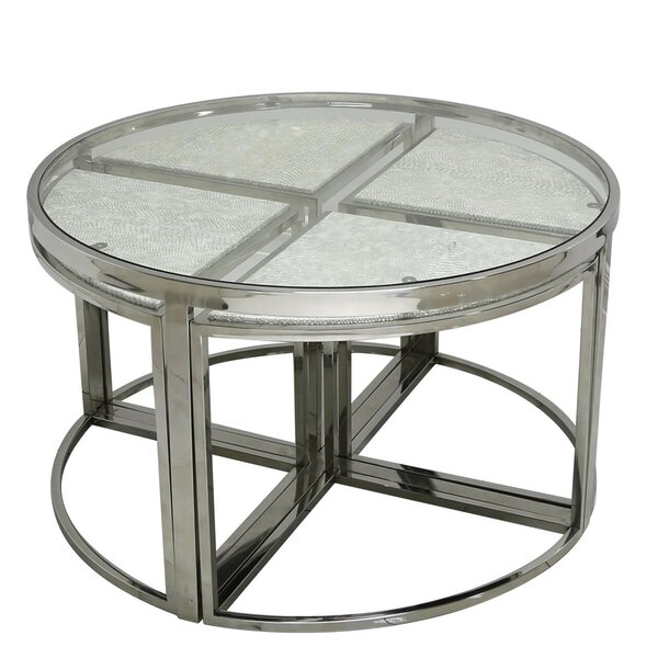 Wayfair Glass Coffee Table Uk: Canora Grey Holly Glass Coffee Table With Nested Stools