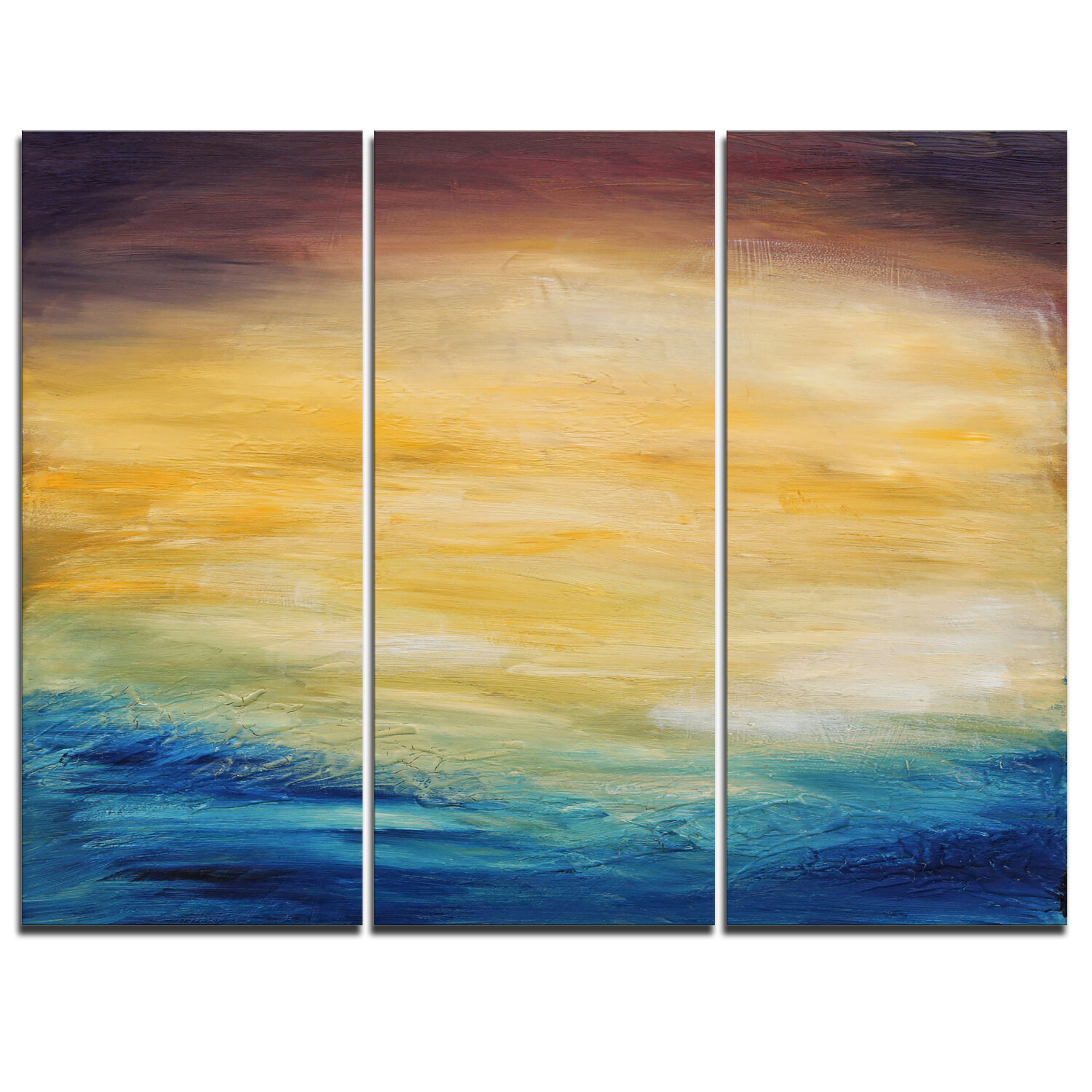 DesignArt Abstract Water Sunset - 3 Piece Painting Print on Wrapped ...