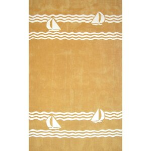 Beach Rug Yellow Sailboat Novelty Rug
