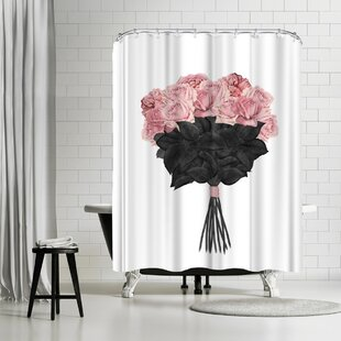 Peach Gold Fading Roses Shower Curtain