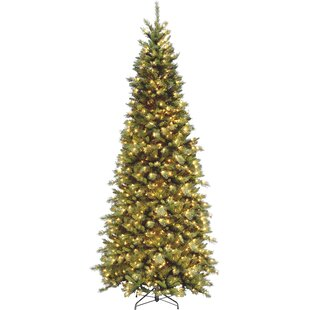 fir 9 green slim artificial christmas tree with 700 pre lit clear lights with stand