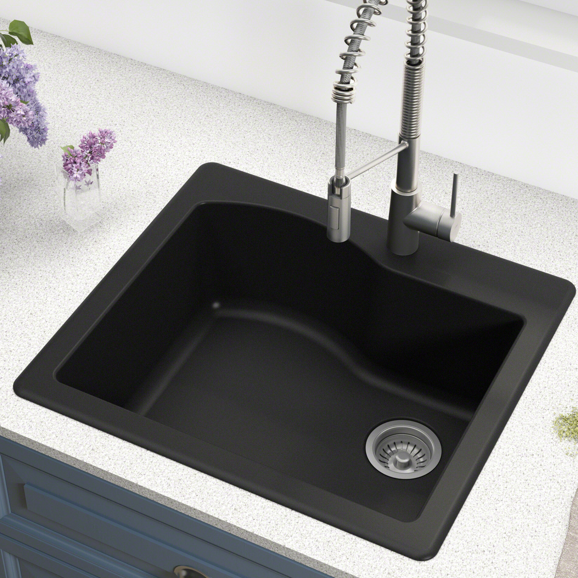 kraus quarza 25 x 22 dual mount kitchen sink reviews wayfair rh wayfair com 25 x 22 cast iron kitchen sink 25 x 22 black kitchen sink