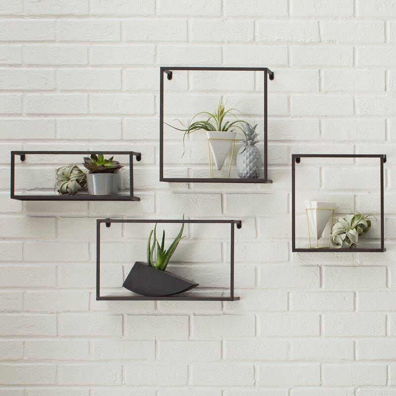 4 Piece Zyther Metal Wall Shelf Set