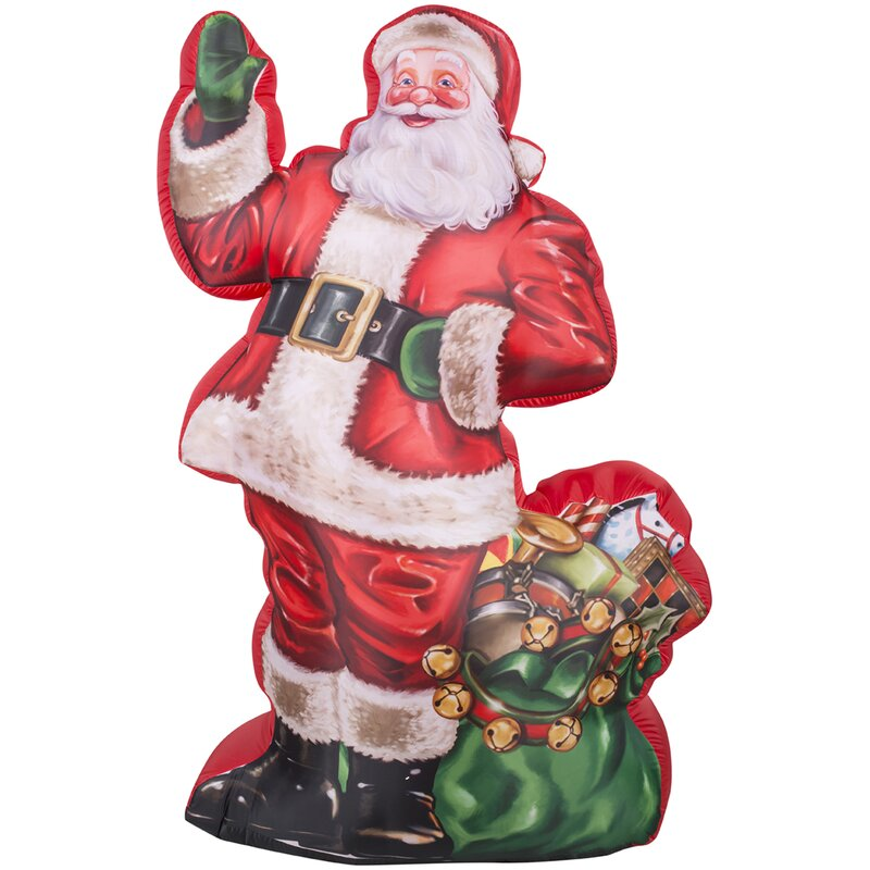 airblown inflatables christmas photorealistic illustrated santa decoration with gift bag - Christmas Airblown Inflatables