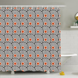 Modern Art Home Retro Minimalist Concentric Spiral Vortex Graphic Work Shower Curtain Set