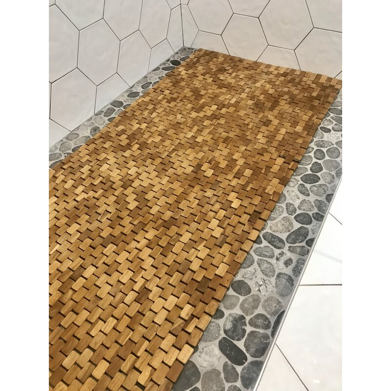 Genial Egidio Teak Floor Runner Bath Rug