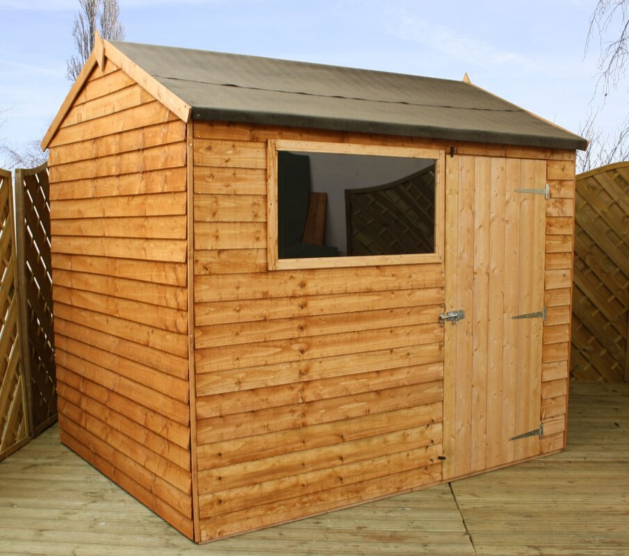 Garden Sheds 8x6 mercia garden products 8 x 6 wooden overlap reverse apex storage