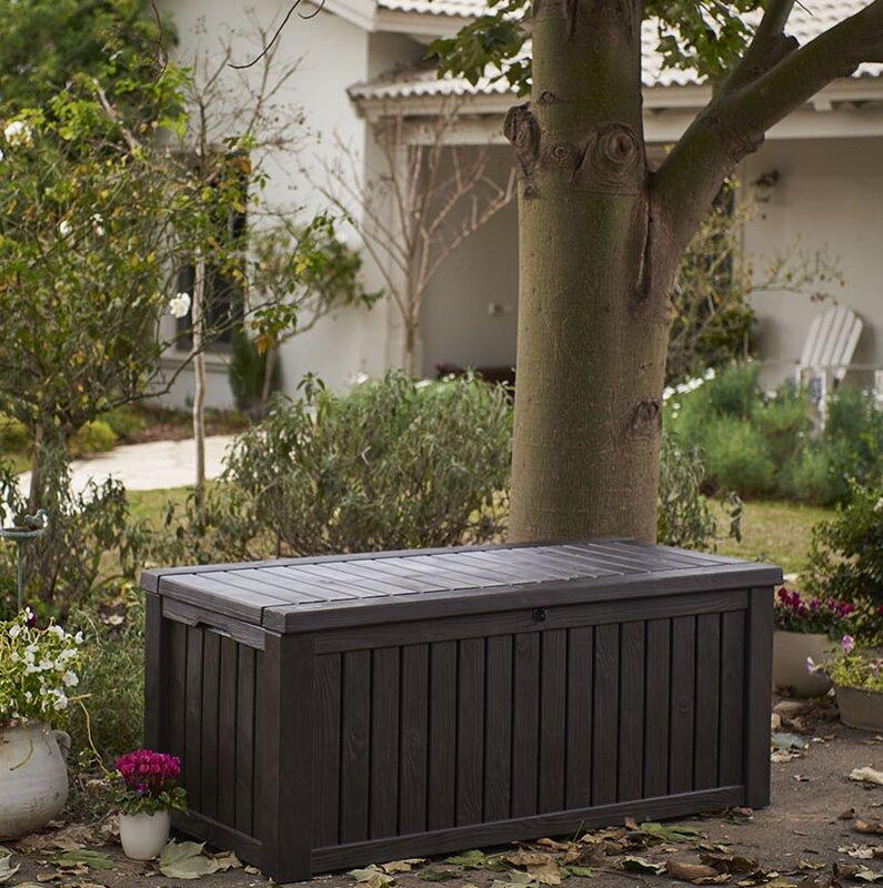 Keter Rockwood 150 Gallon Resin Deck Box Amp Reviews Wayfair
