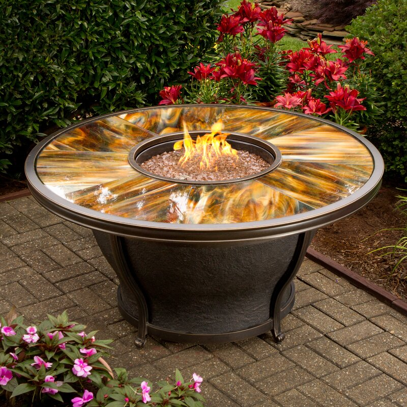 gas fire pit table Oakland Living Moonlight Propane Gas Fire Pit Table & Reviews  gas fire pit table