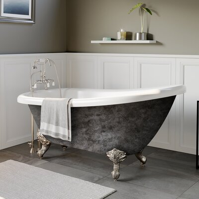"Acrylic Slipper 61"" X 28"" Clawfoot Soaking Bathtub Cambridge Plumbing Feet Finish: Brushed Nickel"