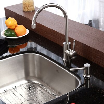 "Undermount Kitchen Sinks And Faucets kraus 23"" x 18"" undermount kitchen sink with faucet and soap"