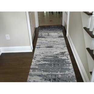 Read Reviews One-of-a-Kind Brode Hand-Knotted Runner 2'6 x 12'3 Wool/Silk Gray/White Area Rug By Isabelline