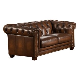 Hickory Leather Chesterfield Loveseat