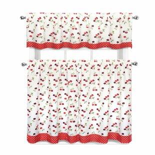 Cherries And Polka Dots 3 Piece Kitchen Curtain Set
