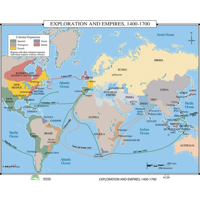 Australia Map Of World.World History Wall Maps Exploration Empires 1400 1700