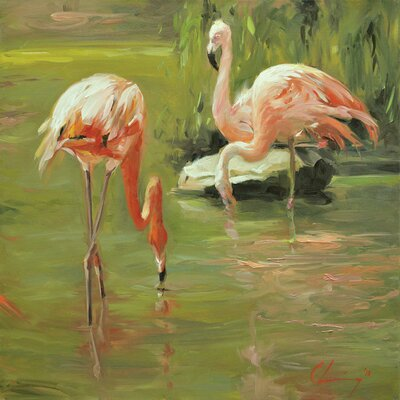 Bay Isle Home 'Flamingo II' Painting Print on Canvas Size: 12 H x 12 W x 0.75 D