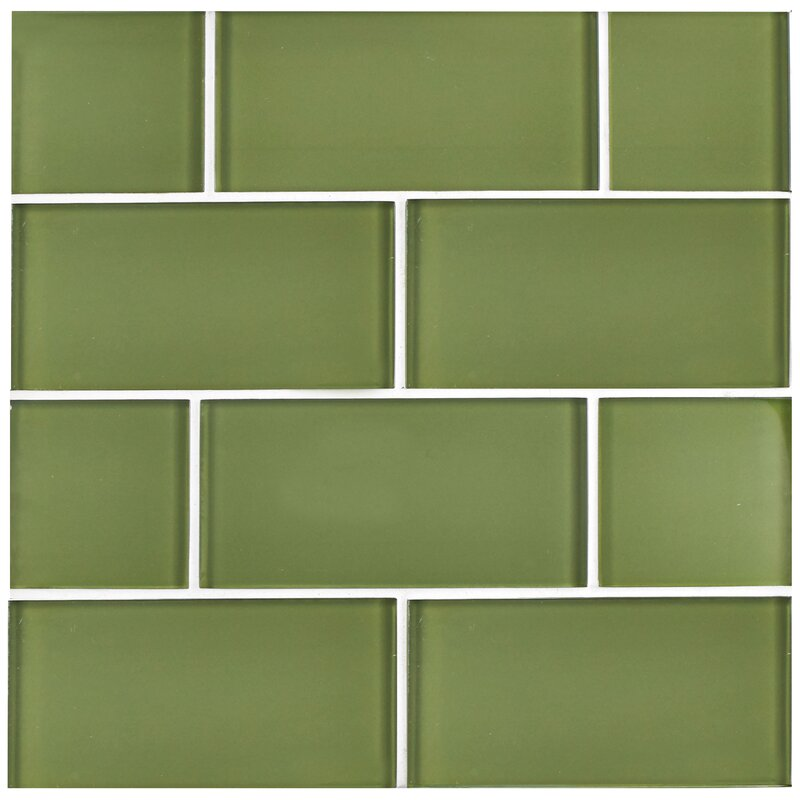Elitetile Sierra 3 X 6 Gl Subway Tile In Sage Reviews Wayfair