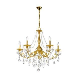 Antique gold chandelier wayfair pisani kristall 5 light chandelier in gold mozeypictures Choice Image
