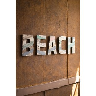 Painted Recycled Wood Beach Letters Wall Décor