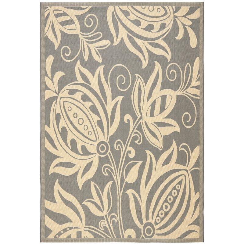 August Grove Massasoit Grey/Natural Indoor/Outdoor Area Rug, Size: Rectangle 67 x 96