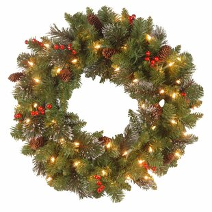 Spruce Pre Lit Wreath With Clear Lights